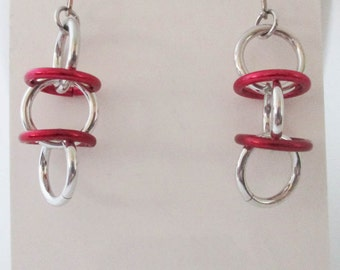 Silver and Red Orbital Chainmaille Earrings Handmade