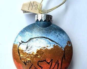 Buffalo Ornament - Hand Painted Christmas Ornament - Southwest Colors - Colorado Buffalo - Buffalo Gift - Buffalo NY