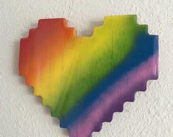 8 bit love - pixelated rainbow heart wall art