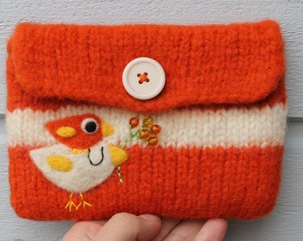 Felted bag pouch wool purse bag hand knit needle felted orange white happy birdie birds