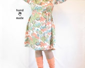 Marsha Dress -- plus size, size 24 / 26W, 3XL -- 1970s reed marsh print poly crepe -- matching tie  -- 54B-48W-60H