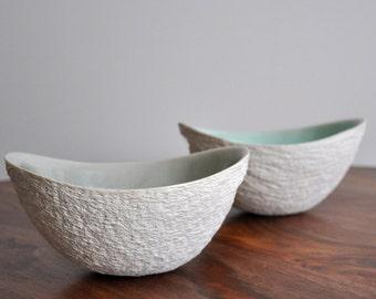 Mint Green Walnut Bowl - Mid Century Modern Ceramic Bowl White Porcelain Bowl