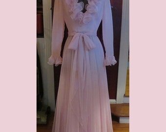 Vintage Pink Chiffon Gown Dress Delicate Ruffle Size Small