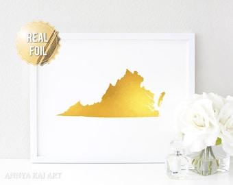 Virginia Wall Art - Virgina Map - Virginia Is For Lovers - Real Gold Foil Print - VA State Print - VA State Map - Foil Print - Virginia Home