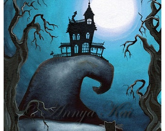 Haunted House, Halloween Art, Wall Art, Gift, Home Art, Halloween, Room Art, Room Decor, Room Decor, Gift Idea, Art, Haunted Mansion