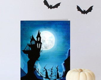 Witch Sisters - Halloween Greeting Card or Party Invitation - Colorful Blue Black Witch Silhouette - Halloween Stationary