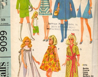McCall's 9099 Barbie, Midge, Francie In the SWINGIN' SIXTIES Clothes Pattern © 1967