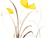 "Art print of yellow watercolor flowers: ""Sunshine Dance"""