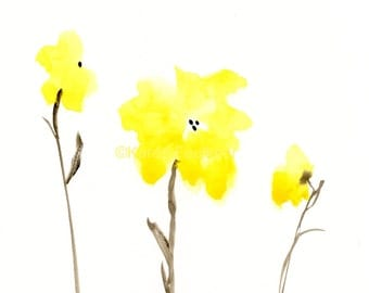 "Original watercolor flower painting: ""Yellow Flower Friends"""