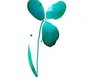 """Teal watercolor flower print: """"Serenity Flower"""""""