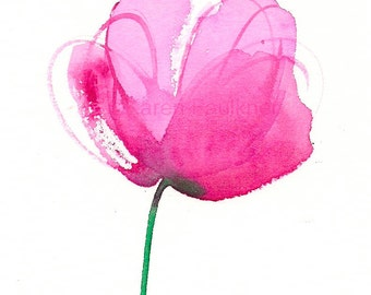 """Watercolor flower art print of a pink peony: """"Peony"""""""