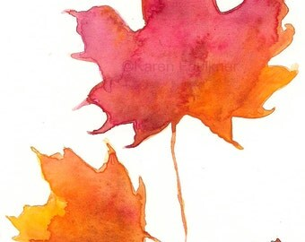 """Watercolor autumn Maple leaves print: """"Two Maples"""""""