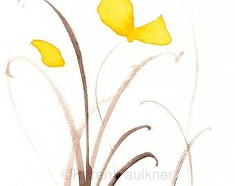 "Art print of yellow watercolor flowers: ""Sunshine Dance"""