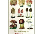 Personalized Vintage Bookplates - Mushrooms - Gift, Chef, Foodie, Teacher Present, Ex Libris