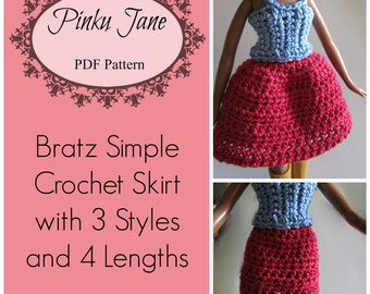 Bratz Simple Crochet Skirt with 3 Styles in 4 Lengths PDF Pattern Fits Monster High
