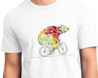 Bear On Bike T-Shirt - Adult Medium - White