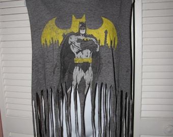 gray classic comic book DC Comics Batman inspired shredded crop tank top with festive fringe