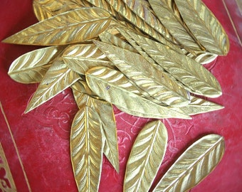 Fantastic Find - Lot of 8 - New Old Stock (NOS) Brass Leaves for Chandeliers, Costumes, Jewelry, Assemblage