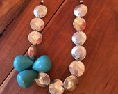Silver Disc & Turquoise Necklace- Asymmetrical, Funky, Artsy, Natural, Unique, Sterling Silver, Gold, Wedding, Free Gift w/ Purchase