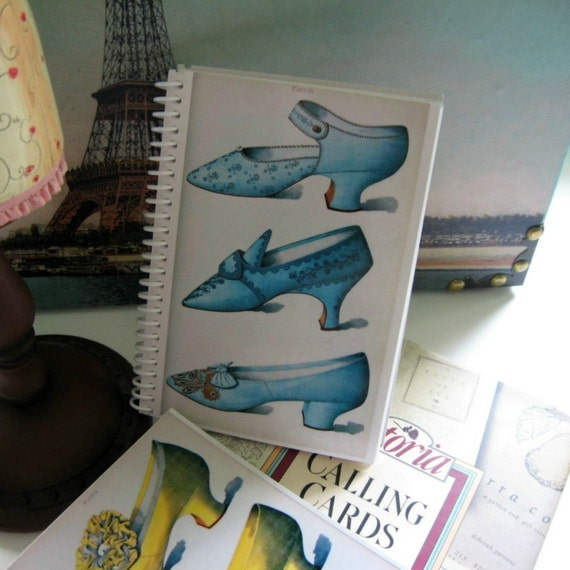 Blue Ladies Shoes, Blank Fashion Sketchbook, Spiral Bound Writing Journal, Back to School, A6 Pocket Notebook, Cute Gifts Under 15, SALE