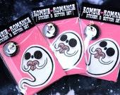 Zombie Romance Spooky Ghost Die Cut Vinyl Sticker & Pinback Button set