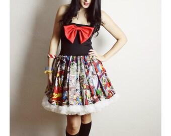 MARVELCOMIC Tutu Dress ,  Petticoat Comic Dress ,  Comic Book PROM Dress , Handmade Comic Dress, Marvel TUTU Dress, Bow Dress