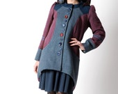 Blue and purple winter coat, Assymetrical purple & blue womens coat with wide Hood, womens winter coat, Blue hooded patchwork coat