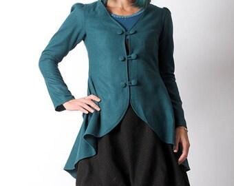 LAST ONE Teal blue jacket, Blue wool blend swallowtail jacket, Teal blue womens jacket, Blue steampunk jacket, size S
