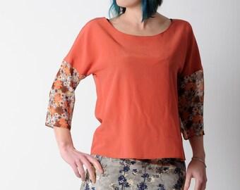 Orange silk top, Womens dark orange loose top, washed silk and floral voile, Orange floral womens shirt, Spring fashion  size UK 14