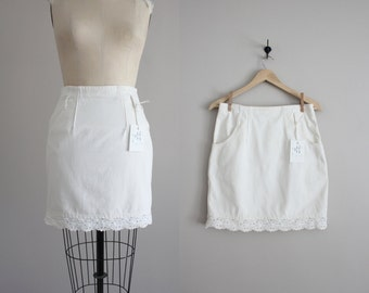 white denim skirt / crochet skirt / short denim skirt