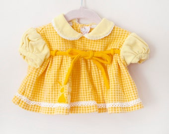 Vintage Baby Girl Swing Top / Yellow Orange Bunny Houndstooth Baby Blouse