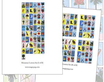 Miniature Dollhouse Loteria Cards set digital collage sheet set