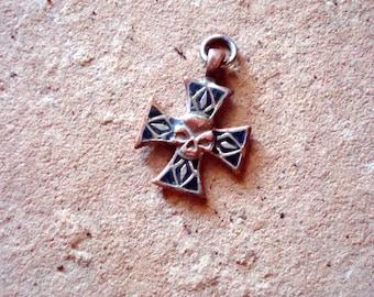 Solid Brass/Copper/Nickel Maltese Cross Biker Medallion Skull Embossed Pendant