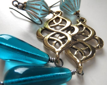 Gold Scroll Earrings with Aqua Glass Beads, Gold Bollywood Earrings, India Indian Inspired, Middle Eastern Inspired Earrings, Boho Jewelry