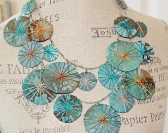 Unique Multi Strand Fabric Umbrellas Necklace Eco Chic Statement Piece Teal, Brown and Sienna