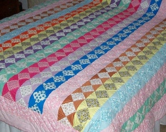 Handquilted Multicolored Striped Quilt, Ready to Ship