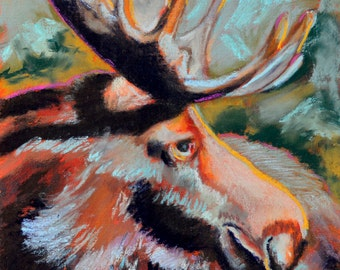 Moose 2 - a pastel painting by Pattie Wall