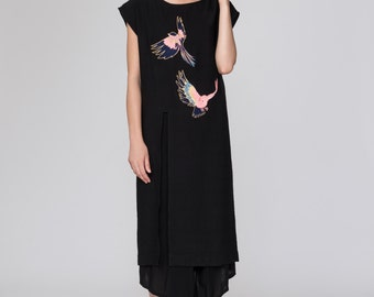 Asian Inspired Fabienne Tunic. Embroidered Colorful Bird Dress. Minimalist Boxy Fit Tunic. Pink and Navy Embroidery Flying Birds.