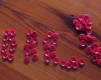 Large Lot (100+) Little Red Buttons  4 Hole Vintage  FREE SHIPPING