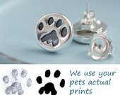Personalised Paw Print Studs Earrings, Your Cat or Dogs actual prints, Personalized