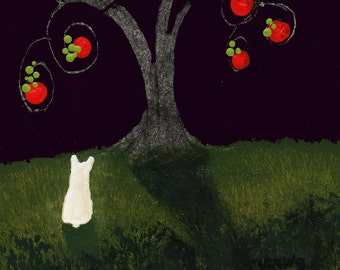 White French Bulldog Dog Art PRINT Todd Young painting Apple Tree