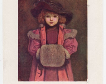 Vintage Kate Greenaway Book Plate Art Print - Lovely Girl with Muff