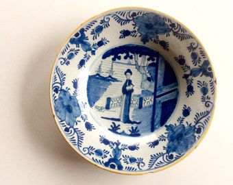 18th Century Delft Plate, De Klauw, Lambertus Sanderus Signed Pottery. Chinoiserie Chinese Garden. Antique Blue & White Dutch Delft, 1760s
