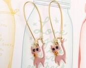 Glamorous Pink Cat Golden Earrings, Cat Earrings, Pink Cat Earrings, Cute Cat Earrings, Cute Gift for Cat Lover, Kawaii Cat Earrings