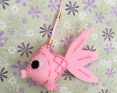 Pink Goldfish Handmade Felt Ornament, Felt Keychain, Felt Fish, Felt Christmas Ornament, Felt Toy, Christmas Decoration, Cute Toy for Kid