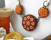 Autumn Daisies, Fabric Covered Button Necklace
