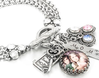 Mothers Jewelry, Photo Jewelry, Picture Jewelry, Personalized Photos, Childrens Picture Bracelet, Mothers Photo Jewelry, Family Photo