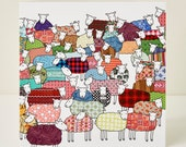 Flock of Colourful Sheep Greeting Card
