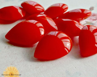 Red Opaque Vintage Czech Glass Pear Jewels (27-6B-4)
