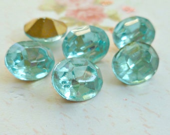 12 Light Aqua 10x8mm Oval Glass Rhinestone Jewels (11-8F-12)